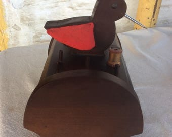 Vintage sewing box -Sewing caddy -  with chicken that holds scissors - spool posts on top - storage underneath