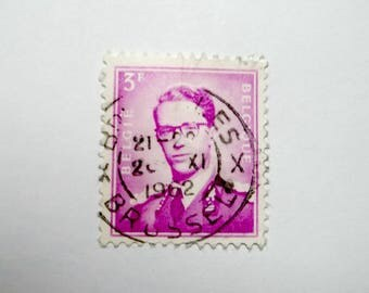 Belgium Postage Stamp, Old and Purple