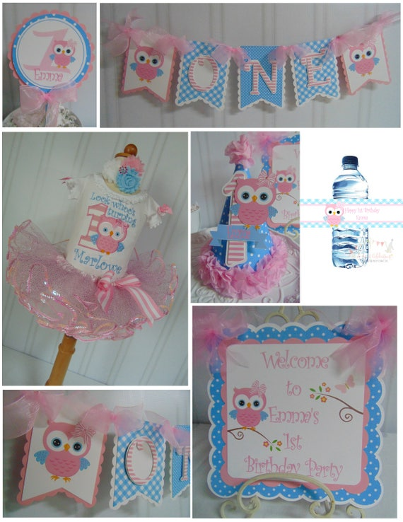 Owl 1st Birthday Party Package