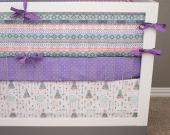 Woodland Crib Bedding, Tribal Girl Baby Bedding, Floral Antler Purple Baby Bedding, Mint Teal Lilac Lavender Pink Gray, Arrow Heart Crib Set