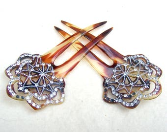 2 Mid Century hair combs faux tortoiseshell rhinestone hair accessories Hollywood Regency hair pin hair fork hair jewelry