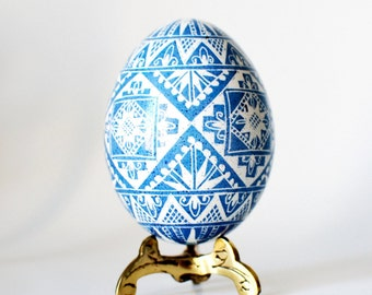 Blue Pysanka symbol of Peaceful Sky Nets Triangles 4 catching good luck  batik chicken egg shell hand painted with tiny tool with  beeswax