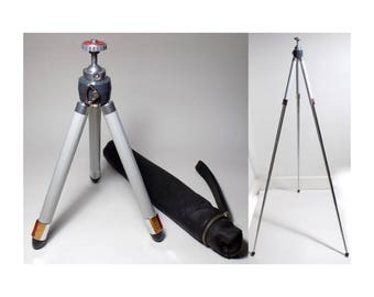 "1960s West Germany Photography Tripod, Telescoping Ball Head Tripod with Leather Carrying Case, Adjustable from 11.5"" to 42"""