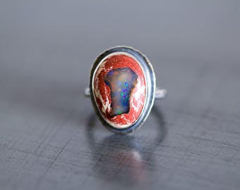 Mexican Fire Opal Ring, Boulder Opal Ring, Raw Opal Ring - Keeper of Secrets - Size 7.25, Size 7.5