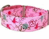 Dog Collar - Pink Graffiti Skulls /  Martingale