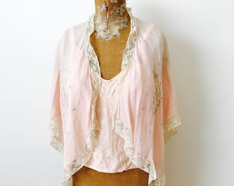 Vintage 1920s embroidered silk bed Jacket Petticoat/Pastel pink top/Lace trim