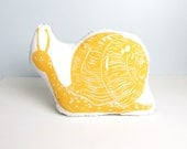 NEW Plush Yellow Snail Pillow. Woodblock Printed. Choose any Color. Made to Order.