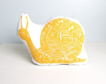 Snail Shaped Animal pillow. Snail Plushie. Woodblock Printed. Choose any Color. Made to Order.