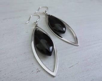 Black Onyx Earrings, Onyx Gemstones, Onyx Jewelry, Marquise Earrings, Long Onyx Earrings, Mod Earrings, Silver and Onyx Gift, Gift Women