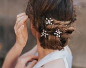 """Bridal Hair Pin, Hair Pin for Bride,  Hairpin ~ """"Brooklyn"""" Rhinestone and Pearl Hair Pin (Silver, Silver with Opal, Gold or Rose Gold)"""