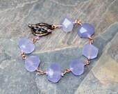 Lavendel-Quarz-Armband, Armband, Naturstein-Armband, rohen Stein Armband, Lavendel Armband, Kupfer Armband, Boho Armband