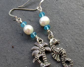 Mismatched earrings, Seahorse Palm tree, freshwater pearls, white and aqua blue