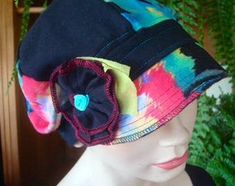 womens hats newsboy  hat chemo hats soft hat black and bright print hat  summer lightweight