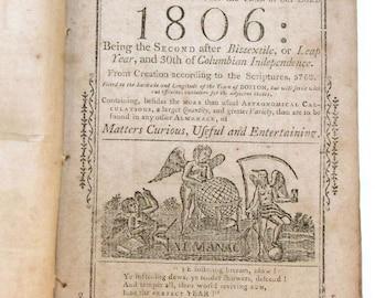 "Thomas, Isaiah ""1806 Almanack"" Matters Curious, Useful and Entertaining, Rare Historical Book"