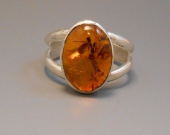 Amber Recycled Gemstone Sterling Silver Tree Sap Mosquito Sterling Silver Ring Baltic Amber