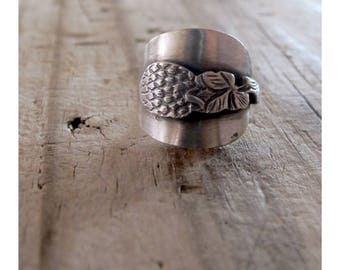 Clover Rings, Silver Clover Rings, Silver Spoon Ring, Lucky Clover Rings, Floral Clover Spoon Ring, Dutch Silver Clover Flower Spoon Ring
