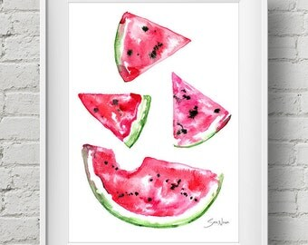 Watermelon Slice : print colorful summer kitchen fruit watercolor painting