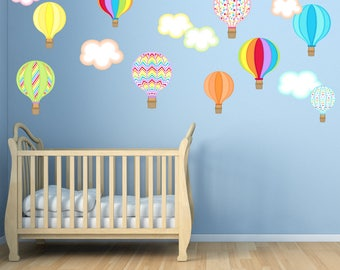 Bon Hot Air Balloon Wall Decals, Non Toxic REUSABLE Fabric Wall Decal, Girls  Decal