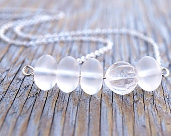 Frosted Clear Glass Bar Necklace Asymmetric Layering Necklace Custom Sterling Silver Chain Modern Minimalist Simple Necklace Gift for her