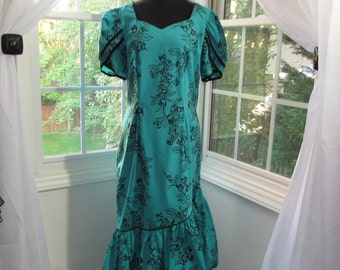 MILESTONE SALE 40% OFF, Vintage Hawaiian Jungle Teal Green with Black Trim and Florals