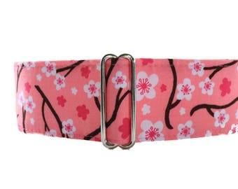 Pink Martingale Collar, 2 Inch Martingale Collar, Cherry Blossom Martingale Collar, Pink Dog Collar, Sighthound Collar