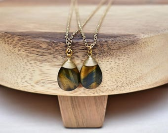 Tiger's Eye Wire Wrapped Charm Necklace/ Gold Plated Tiger's Eye/ Mineral Gemstone Gem Stone/ Layering Delicate Gold Charm Stone (EP-NZX12)