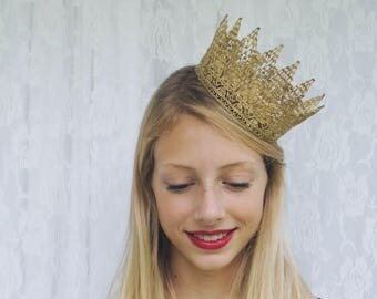 "Royal Gold Queen Crown -  ""Royal Crown"" - halloween costume, princess crown, birthday crown"