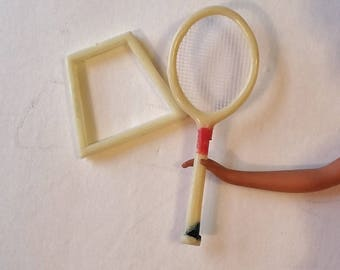 Vintage Barbie Doll Tennis Racquet Mini w Racket Holder 60's Collectible Doll Accessory Toy Game Miniature