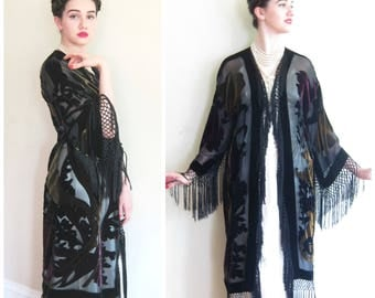 Vintage Black Evening Coat Burnout Velvet with Fringe / Art Nouveau or Deco Style Black Robe