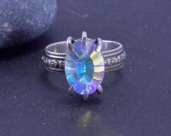 Quartz Ring, Claw Ring, Statement Ring - Aqua Purple Quartz, Prong Ring, Silversmith, Size 8 3/4