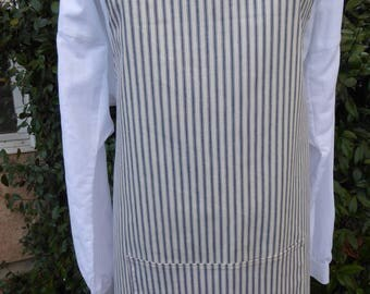 Man's 19th century work apron, striped apron, mother of pearl buttons