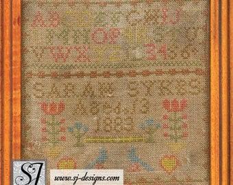 "1883 Sarah Sykes miniature 6-1/2"" schoolgirl sampler bluebirds beautiful frame antique counted cross stitch schoolgirl embroidery"
