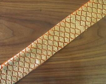 christmasinjuly sale, saree border, orange lace, indian trim, sequin lace, boho lace, embroidered trim, gold lace - Lace173