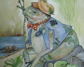 Froggie A-Sittin' 10x12 Pillow for Child's Room Playroom Nursery Decor Imagine A Story Charming Character Frog Clad in Cap & Boots Whimsical