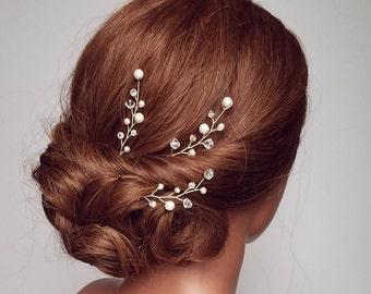 Rhinestone Hair Pins, Vine Hair Piece, Pearl Wedding Hair Comb, Wedding Hairpiece, Pearl Headpiece, Bridal Hair Comb, Hair Clip,