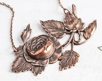 Very Large Antiqued Copper Plated Rose Pendant Necklace