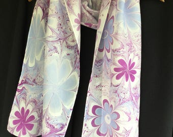 """Purple and Blue Flowered Hand-marbled Silk Washable Scarf Long 14 x 72"""" Flowers Large"""