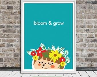 Bloom & Grow Print, Flower Wreath, Nursery Art, Illustration, Wall Art, Printable Art, Instant Digital Download