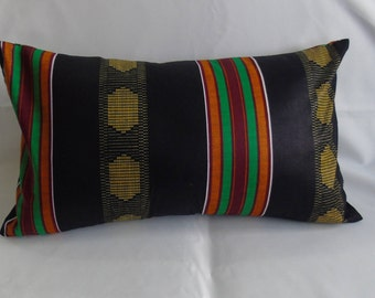 "20 x 12"" Kente Print decorative throw pillow Handmade Artisan"