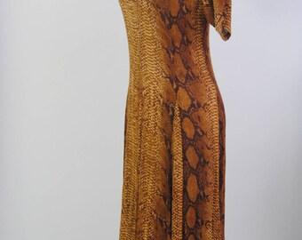 Vintage Dress Python Dress 90s Rayon BOHO Sheer Maxi Dress Snake Print Tie Back Dress S M L