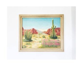 Large Vintage Desert Landscape Oil Painting / Cactus Painting