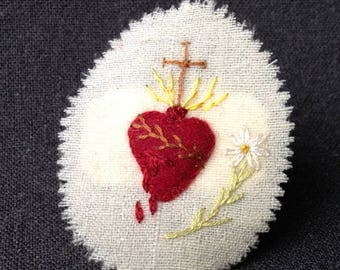 Sacred Heart antique religious amulet.