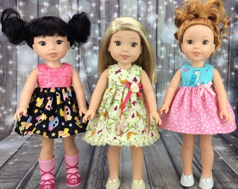 14.5 inch doll clothes - Owl dress fits dolls like wellie wishers doll clothes - Spring dress for wellie Wisher