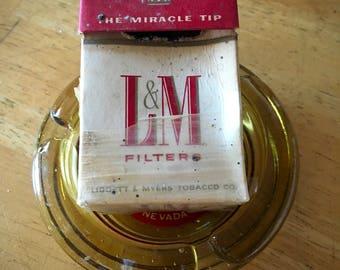 Vintage L&M Cigarette Box Liggett Myers Rustic Man Cave Pub Tobacco Shop Decor Gunsmoke