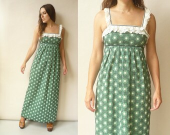 Vintage 90's Bohemian Cotton Embroidered Victoriana Maxi Dress Size XS