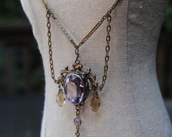 Lilac Jewel--Antique Amethyst Stone Briolette Brooch Antique Art Deco Watch Chain NECKLACE