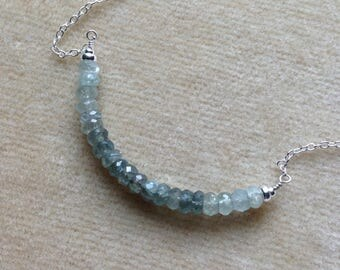 Multi Moss Aquamarine Faceted Sapphire Rondelle Bar Sterling Silver Minimalist Layering Necklace 607