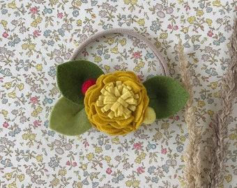 Single Flower Headband or Alligator Clip // Mustard Color, Fall Carnation Felt Flower