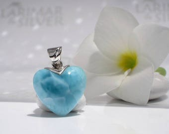 Larimar heart choker by Larimarandsilver, Liquid Love - sea blue Larimar heart aquamarine heart choker turtleback reversible Larimar pendant