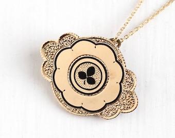 Sale - Antique Rose Gold Filled Black Enamel Three Leaf Clover Necklace - Victorian Era 1890s Brooch Pin Shamrock Taille d'Epargne Jewelry